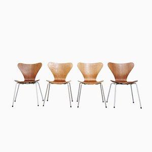 Dänische 3107 Chairs von Arne Jacobsen für Fritz Hansen, 4er Set