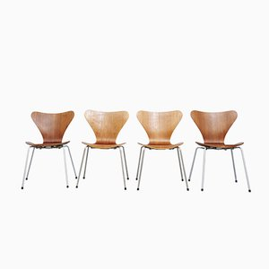 Danish 3107 Chairs by Arne Jacobsen for Fritz Hansen, Set of 4