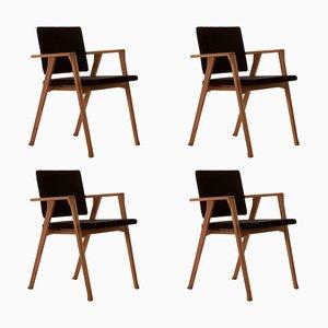 Sillas Luisa de madera y tela de Franco Albini para Cassina. Juego de 4