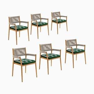 Chaises d'Extérieur en Teck, Corde et Tissu par Rodolfo Dordoni pour Cassina, Set de 6