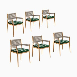 Dine Out Outside Chairs in Teak, Rope and Fabric by Rodolfo Dordoni for Cassina, Set of 6
