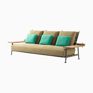 Fenc-E-Nature Outdoor Sofa in Steel, Teak & Fabric by Philippe Starck for Cassina