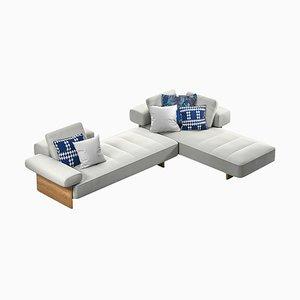 Sail Out Outdoor Sofa aus Metall, Teak & wasserabweisendem Stoff von Rodolfo Dordoni für Cassina
