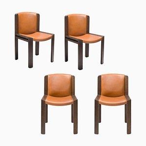 Sedie modello 300 in legno e pelle Sørensen di Joe Colombo, set di 4
