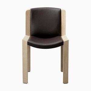 Sedia in legno 300 e pelle Sørensen di Joe Colombo