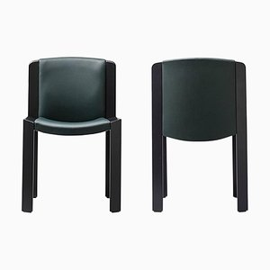 Chairs in 300 Wood and Sørensen Leather by Joe Colombo, Set of 2