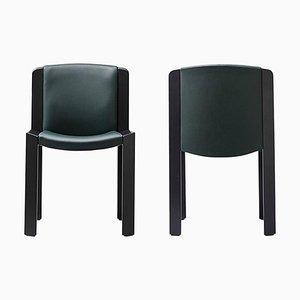 Stühle aus 300 Holz und Sørensen Leder von Joe Colombo, 2er Set