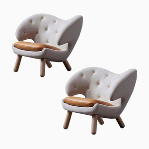 Pelican Chairs in Fabric & Wood with Leather Cushions by Finn Juhl, Set of 2