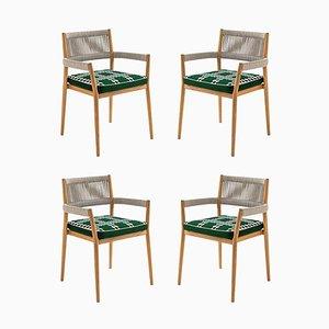 Chaises d'Extérieur en Teck, Corde et Tissu par Rodolfo Dordoni pour Cassina, Set de 4