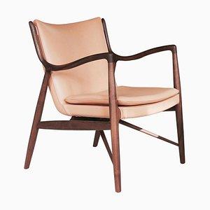 45 Stuhl aus Holz und Leder von Finn Juhl
