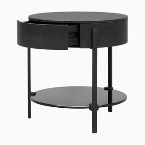 Side Table Pioneer Alice T79l Charcoal / Oak / Tinted Grey by Peter Ghyczy