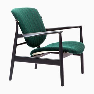 France Chair in Wood and Green Upholstery by Finn Juhl
