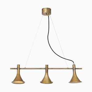 Megafon 3-Raw Brass Ceiling Lamp by Jesper Ståhl for Konsthantverk