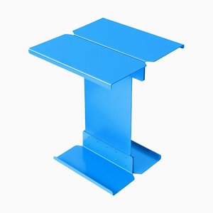 Table Basse Sculpturale en Métal Bleu par Adolfo Abejon