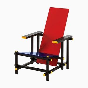 Stuhl in Rot & Blau von Gerrit Rietveld für Cassina