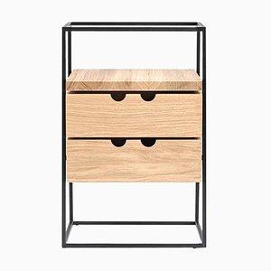 Portaoggetti da scrivania Cache in legno e acciaio di Paul McCobb