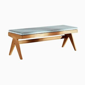 Civil Bench in Wood & Woven Viennese Cane with Cushion by Pierre Jeanneret for Cassina