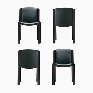 Chairs 300 in Wood & Sørensen Leather by Joe Colombo, Set of 4