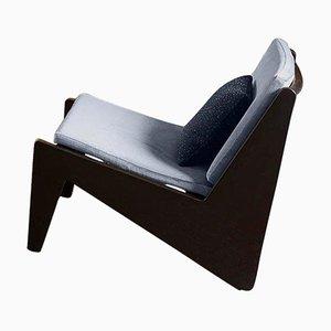 Kangaroo Niedriger Armlehnstuhl aus Holz & Schilfrohr mit Kissen von Pierre Jeanneret für Cassina