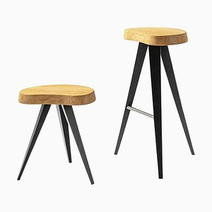 Mexique Stools in Wood and Metal by Charlotte Perriand for Cassina, Set of 2