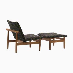 Japan Series Stuhl und Fußhocker von Finn Juhl, 2er Set