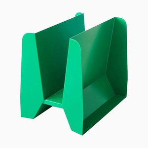Adler Green Metal Sculptural Magazine Rack by Adolfo Abejon
