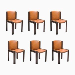 Chair 300 aus Holz und Sørensen Leder von Joe Colombo, 6er Set