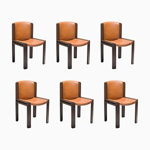 Chair 300 in Wood and Sørensen Leather by Joe Colombo, Set of 6