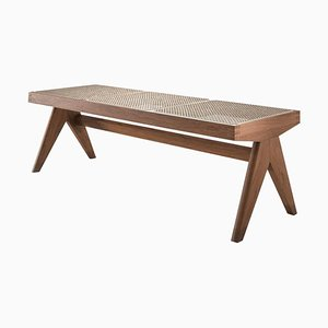 Civil Bench in Wood and Woven Viennese Cane by Pierre Jeanneret for Cassina