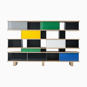 Nuage Shelving Unit in Wood and Aluminium by Charlotte Perriand for Cassina