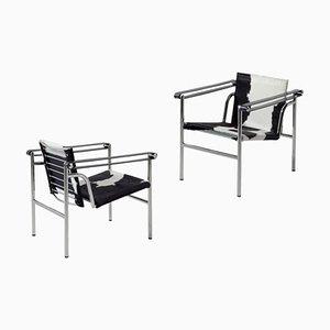Sedie LC1 di Le Corbusier, Pierre Jeanneret e Charlotte Perriand per Cassina, set di 2