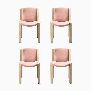 Stühle 300 aus Holz und Kvadrat Stoff von Joe Colombo, 4er Set