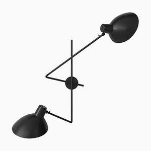 Schwarze Vv Fifty Twin Wandlampe von Victorian Viganò für Astep