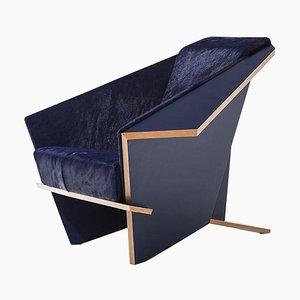 Limited Edition Blue Taliesina Armchair by Frank Lloyd Wright for Cassina