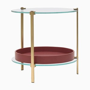 Side Table Pioneer Amy T79db Brass Matt or Clear Glass by Peter Ghyczy