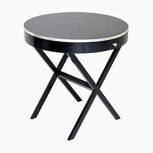 Mid-Century Modern Ebony and Silver Side Table
