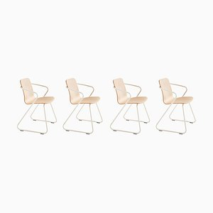 Cobra Wood and Metal Sculptural Chairs by Adolfo Abejon, Set of 4