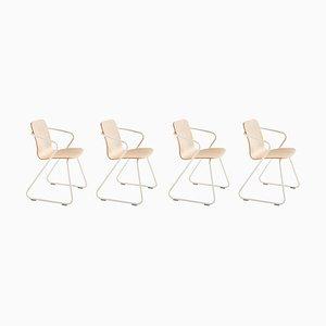Skulpturale Cobra Stühle aus Holz & Metall von Adolfo Abejon, 4er Set