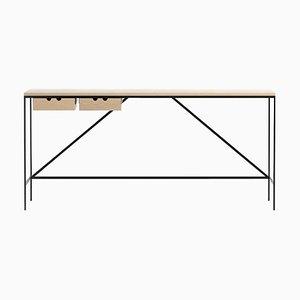 Cache Konsole mit 2 Schubladen aus Holz und Stahl von Paul McCobb