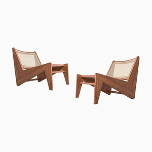 Kangaroo Low Armchairs in Wood & Woven Viennese Cane by Pierre Jeanneret for Cassina, Set of 2