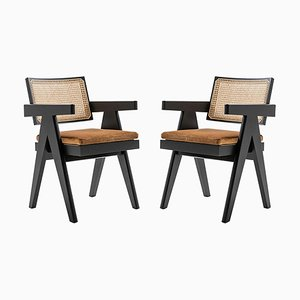 Model 051 Capitol Complex Office Chairs with Cushions by Pierre Jeanneret for Cassina, Set of 2