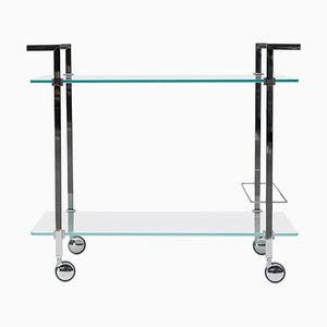 Pioneer Doris T63s Tea Trolley in Steel, Aluminum & Clear Glass by Peter Ghyczy