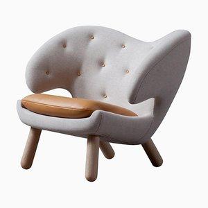 Pelican Stuhl aus Grauem Stoff und Leder von Finn Juhl