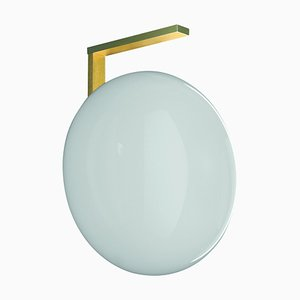 Soto Wall Lamp Alba Opaline Glass and Brass by Mariana Pellegrino for Oluce