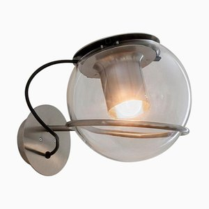 Lampada da parete The Globe in vetro soffiato trasparente di Joe Colombo per Oluce