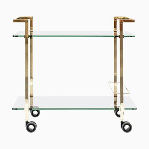 Tea Trolley Pioneer Doris T63s Brass Gloss or Clear Glass by Peter Ghyczy