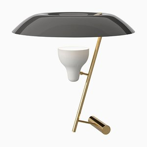 Lampada nr. 548 in ottone lucidato con diffusore grigio di Gino Sarfatti