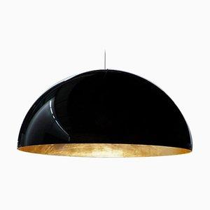 Lampe à Suspension Sonora Noire à l'Extérieur et Dorée à l'Intérieur par Vico Magistretti pour Oluce