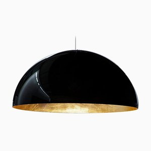 Suspension Lamp Sonora Black Outside and Gold Inside by Vico Magistretti for Oluce