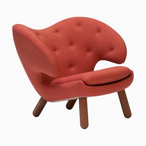 Pelican Chair Upholstered in Red Kvadrat Remix Fabric by Finn Juhl